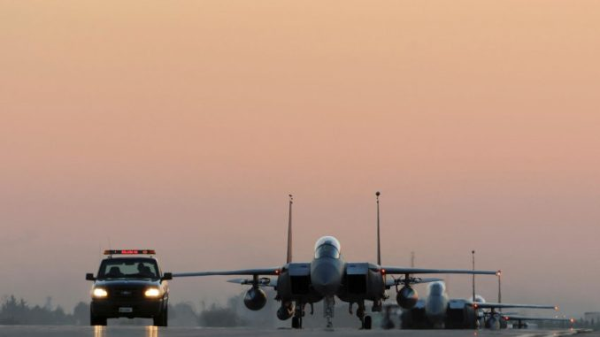 U.S. Air Force F-15E Strike Eagles taxi the runway after landing at Incirlik Air Base, Turkey, November 12, 2015. Six F-15Es are deployed in support of Operation Inherent Resolve and counter-ISIL missions in Iraq and Syria. Picture taken November 12, 2015. REUTERS/USAF/Tech. Sgt. Taylor Worley/Handout via Reuters  THIS IMAGE HAS BEEN SUPPLIED BY A THIRD PARTY. IT IS DISTRIBUTED, EXACTLY AS RECEIVED BY REUTERS, AS A SERVICE TO CLIENTS. FOR EDITORIAL USE ONLY. NOT FOR SALE FOR MARKETING OR ADVERTISING CAMPAIGNS